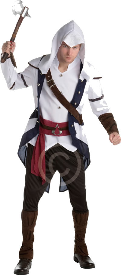 This Assassins Creed Costume includes a white tunic features decorative buttons and a body strap, plus blue detailing