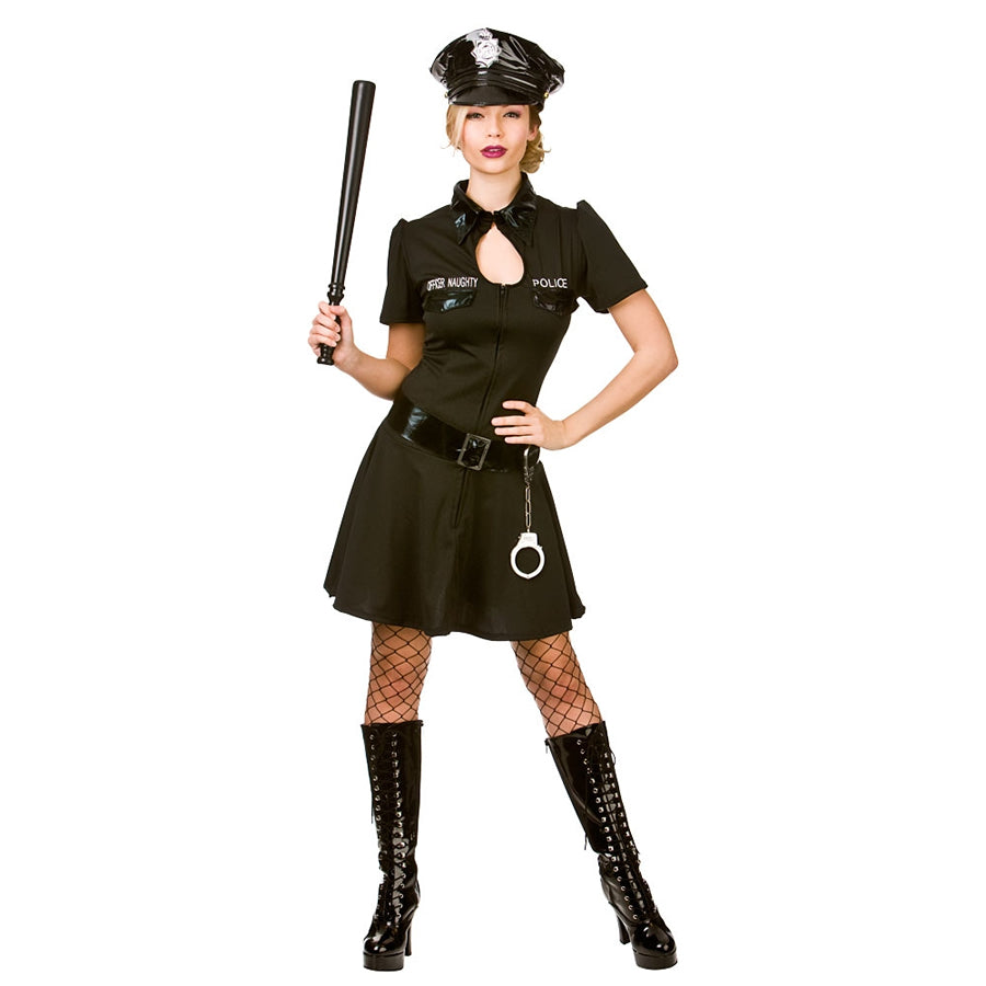 This ladies Naughty Officer police costume includes a black dress with zip up front and PVC detailing, a PVC hat and belt.
