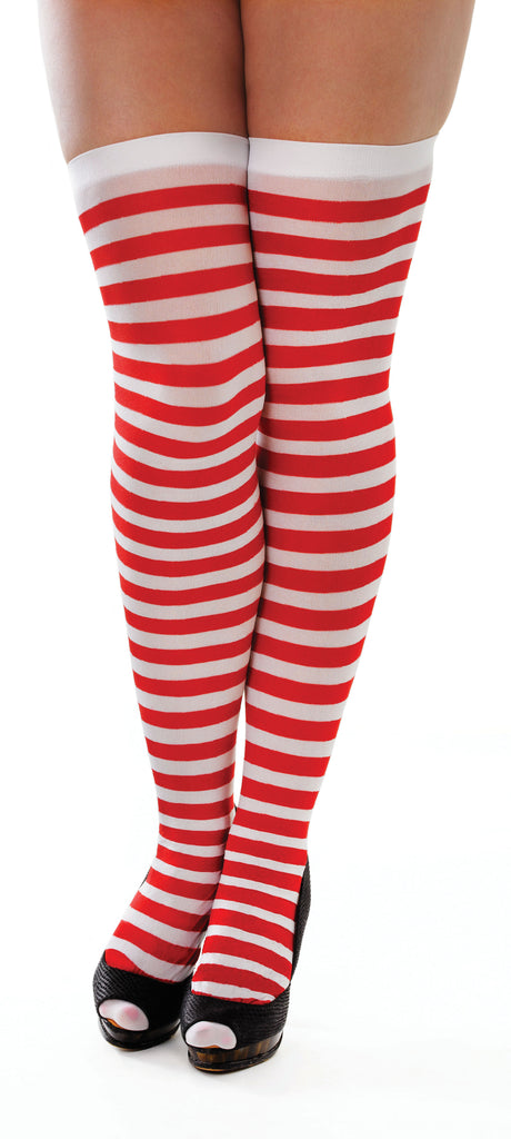 Adult Red and White Striped Thigh High Stockings