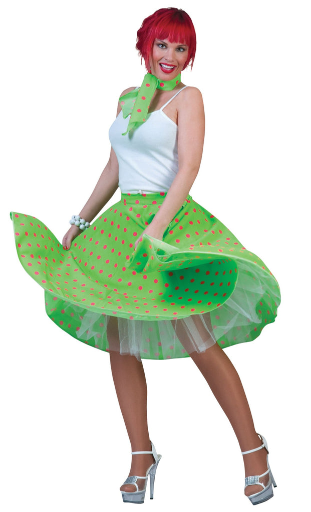 Adult 1950's Rock n Roll Skirt Green Costume