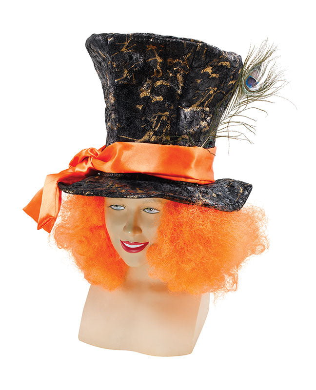 Complete your Wonderland Mad Hatter fancy dress outfit with this striking costume hat.  The hat has sewn in orange hair to the sides and a peacock feather to finish off the look