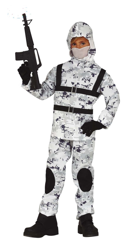 Children's Arctic Camo Soldier Costume for boys and girls.