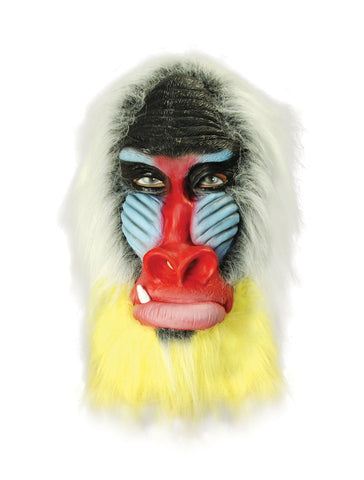 Baboon overhead mask with face painted with black, pale blue and red. surrounded by silver and yellow faux fur.