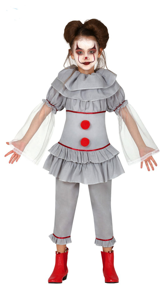 Kids Bad Clown Child Costume Girl