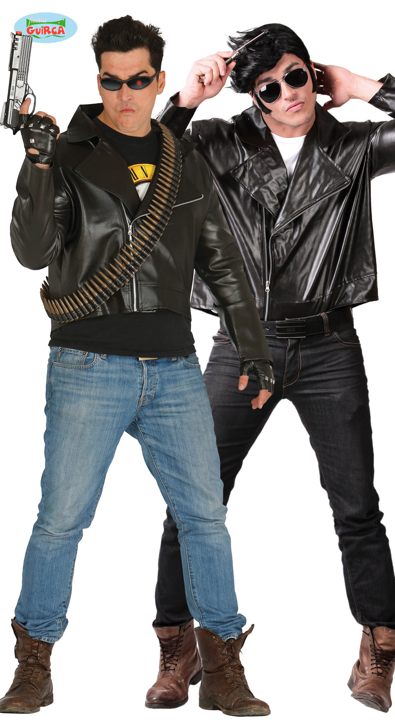 Fancy dress biker jacket made from leather look synthetic material