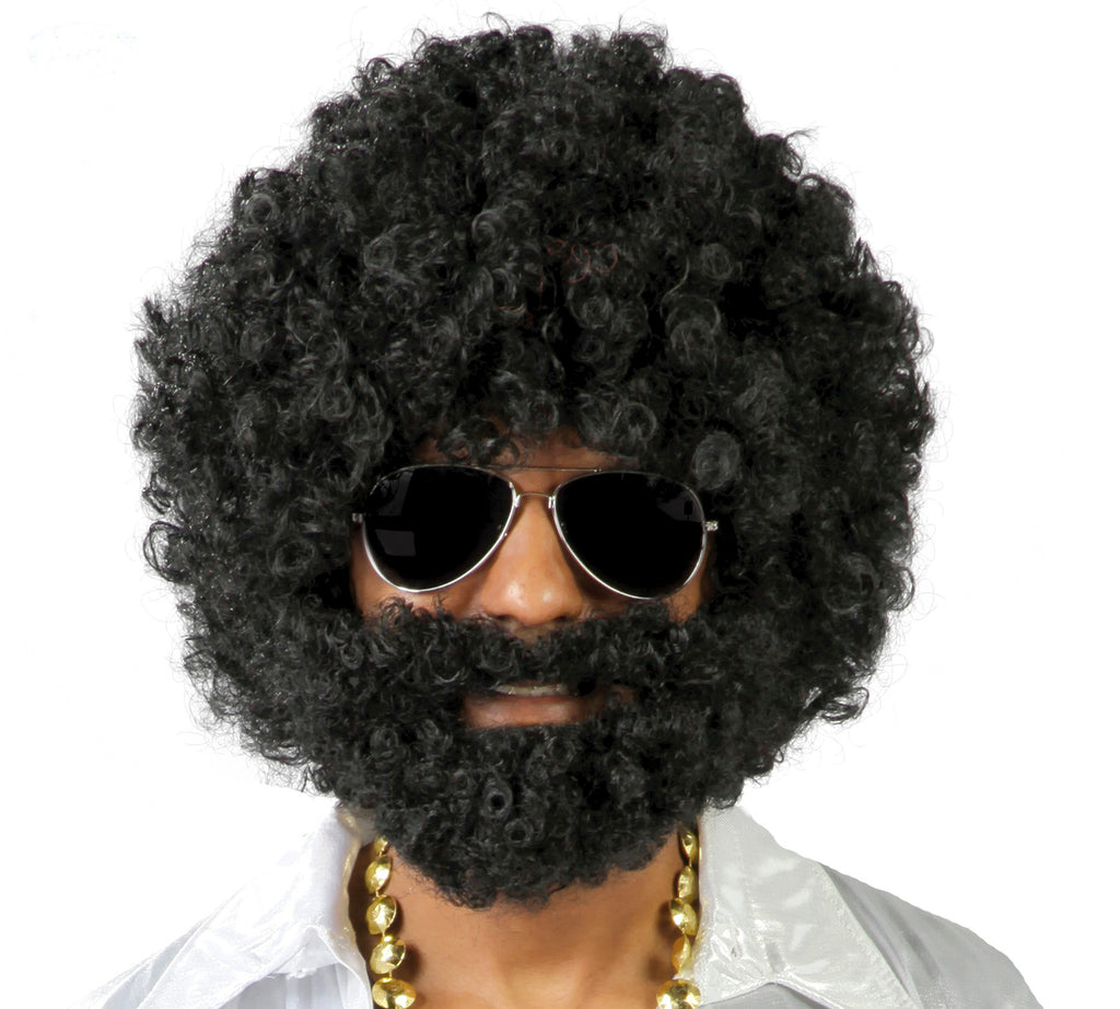 Black Curly Afro Wig And Beard