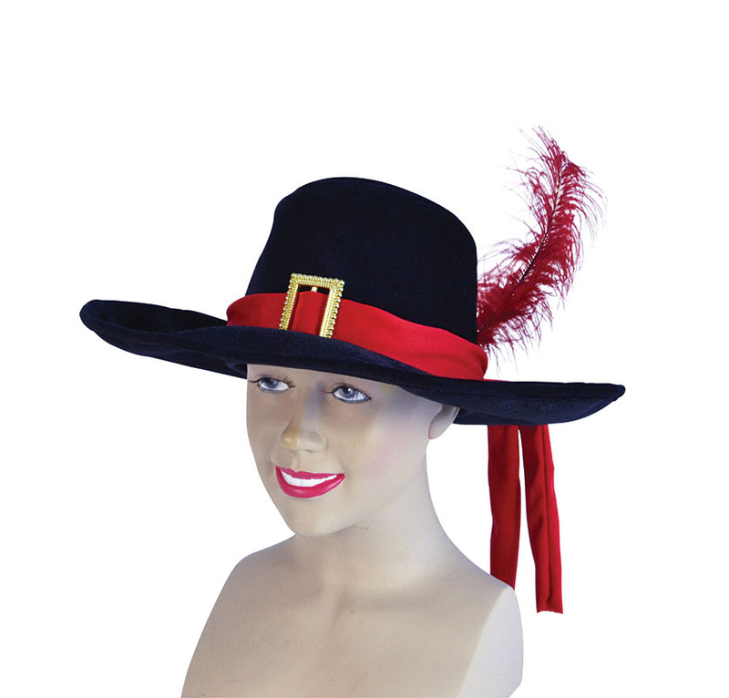 Black Red Velvet Musketeer Hat