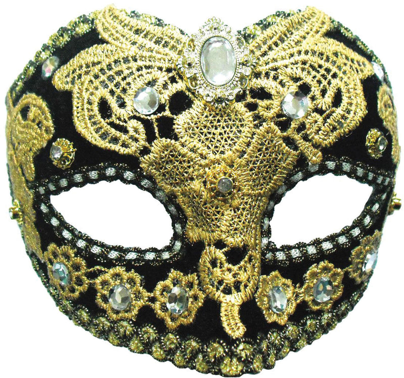 Black & Gold Lace Eyemask with Jewel Masquerade Mask