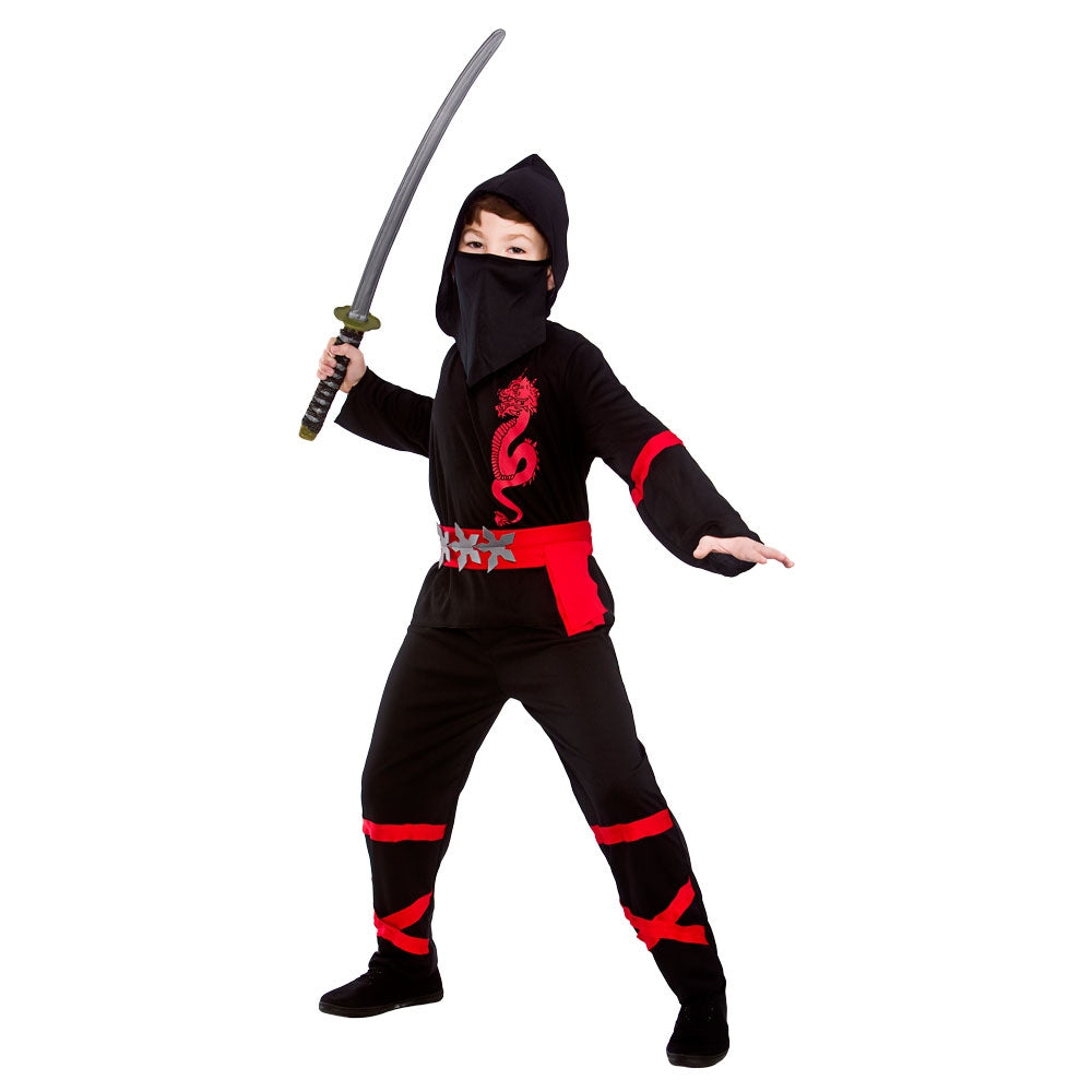 Black Power Ninja Fancy Dress Costume Boys