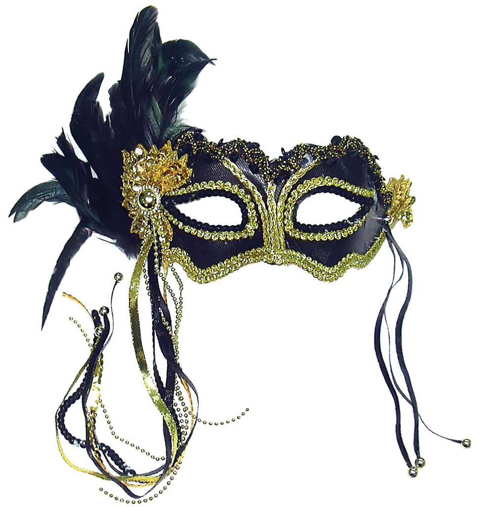 Black and Gold Metallic Satin Mask with Side Feathers and Beaded Ribbons Fancy Dress Masquerade Mask
