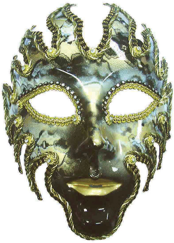 Black and Gold Venetian Fire God full face masquerade mask