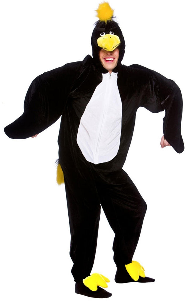 This crow costume comprises of an all in one plush black jumpsuit decorated with contrasting white stomach detailing, a pair of padded yellow foot covers and an attached faux fur tail.