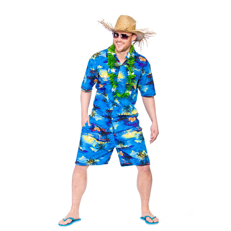 Blue palm Hawaiian party guy shirt and shorts costume