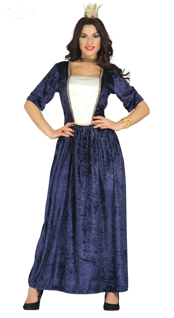 Blue Renaissance Maiden ladies fancy dress costume