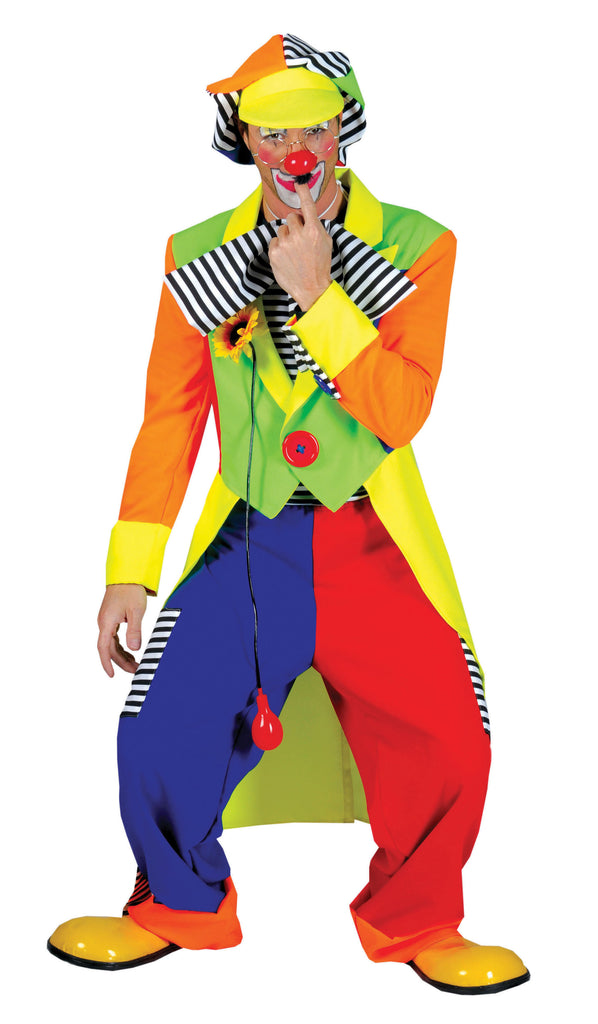Make them smile now and laugh with joy in this Bonzo the Clown Costume. This funny clown costume is a 4 piece and includes Tailcoat jacket with large button detail,  Baggy style trousers, Matching Hat and Bow-tie.