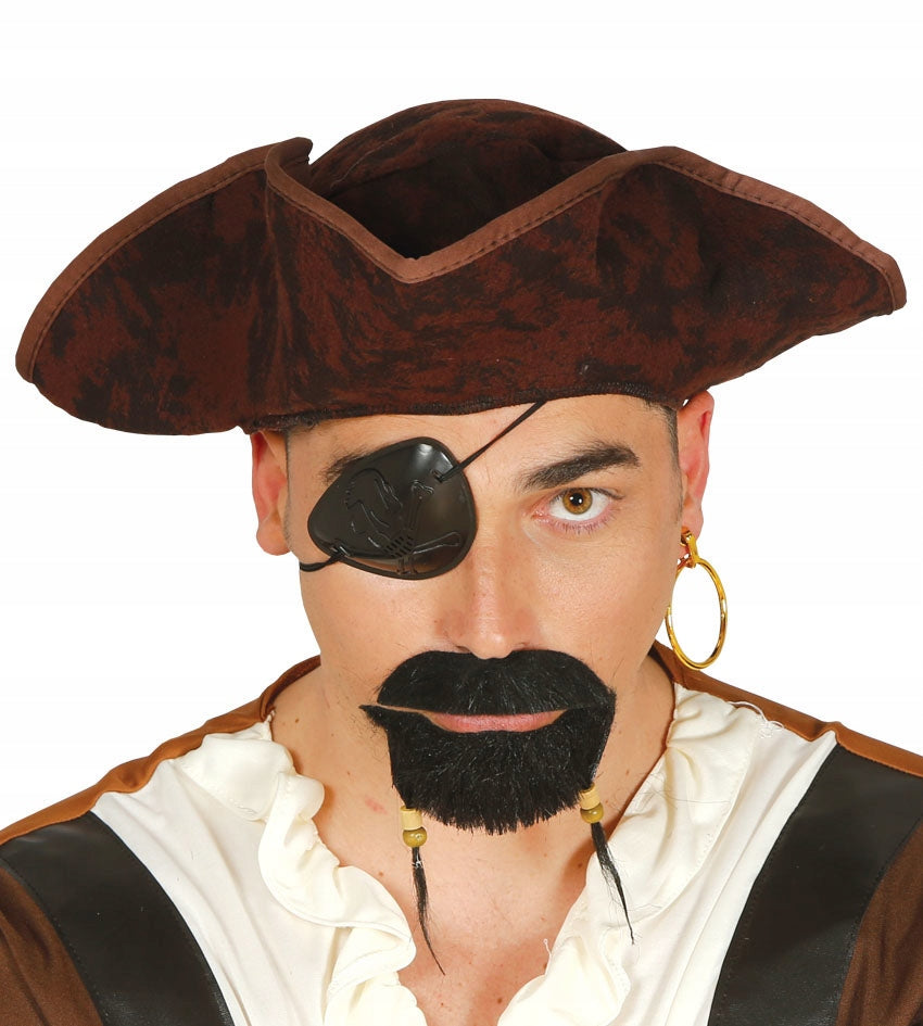 Brown Pirate Tricorn Hat Distressed