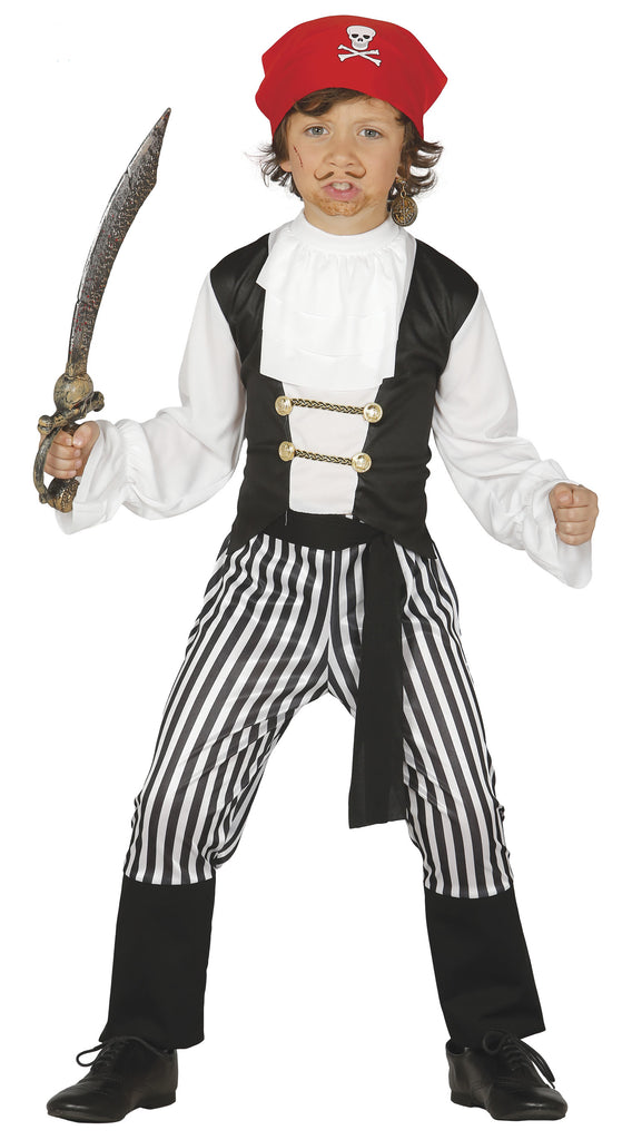 Boys Buccaneer Pirate Costume includes shirt, trousers, headband and belt
