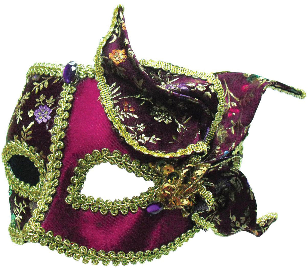 Burgundy And Gold With Side Feather Masquerade Mask