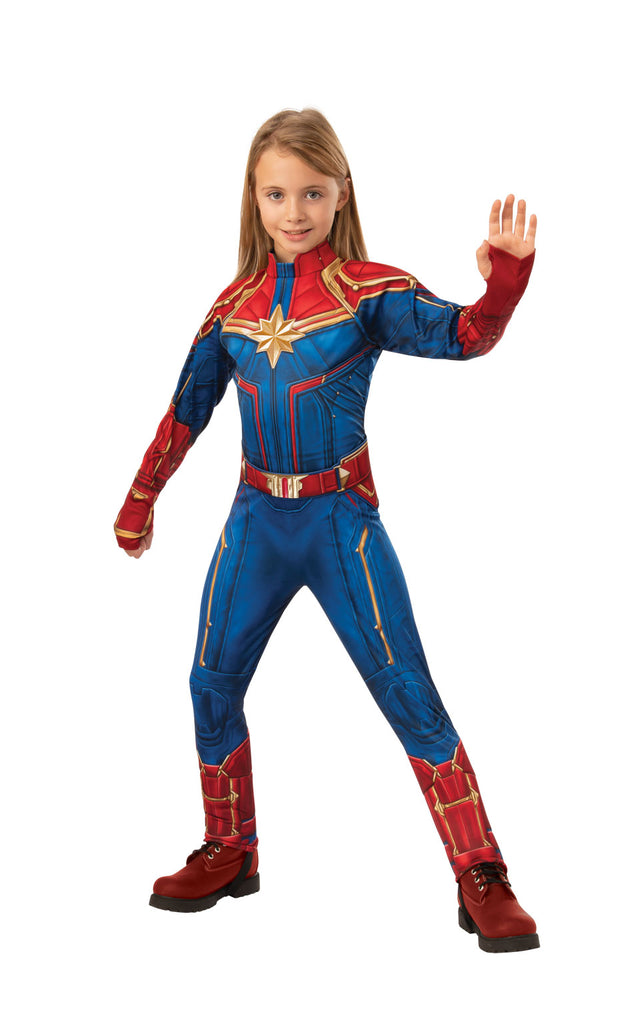 Captain Marvel Deluxe superhero outfit for girls.
