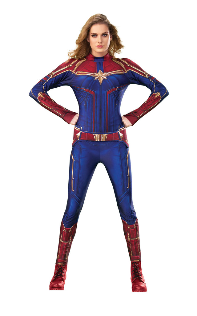 Captain Marvel costume adult superhero suit for women.