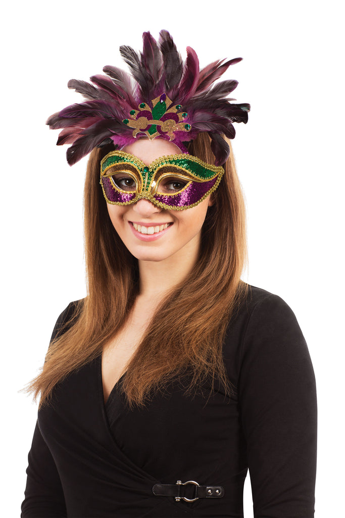 Carnival Mask Purple Green Gold With Feathers