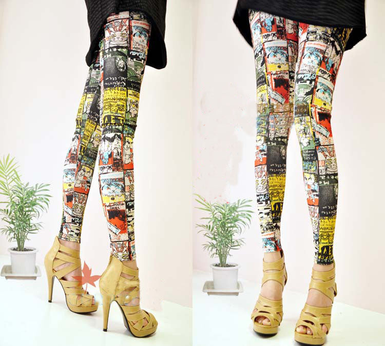 Cartoon Cat Print Leggings
