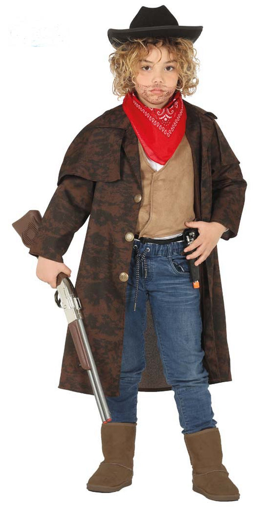 Boys Western Long Brown Cowboy Duster Coat