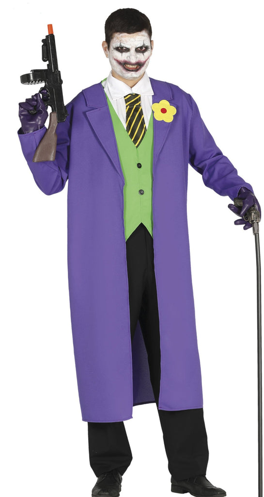 Joker style Costume includes the long purple coat with flower and green waistcoat