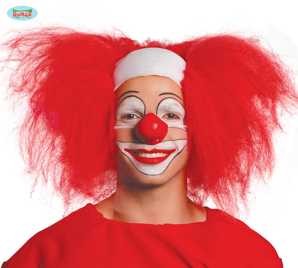 Clown Rubber Headpiece Red Hair