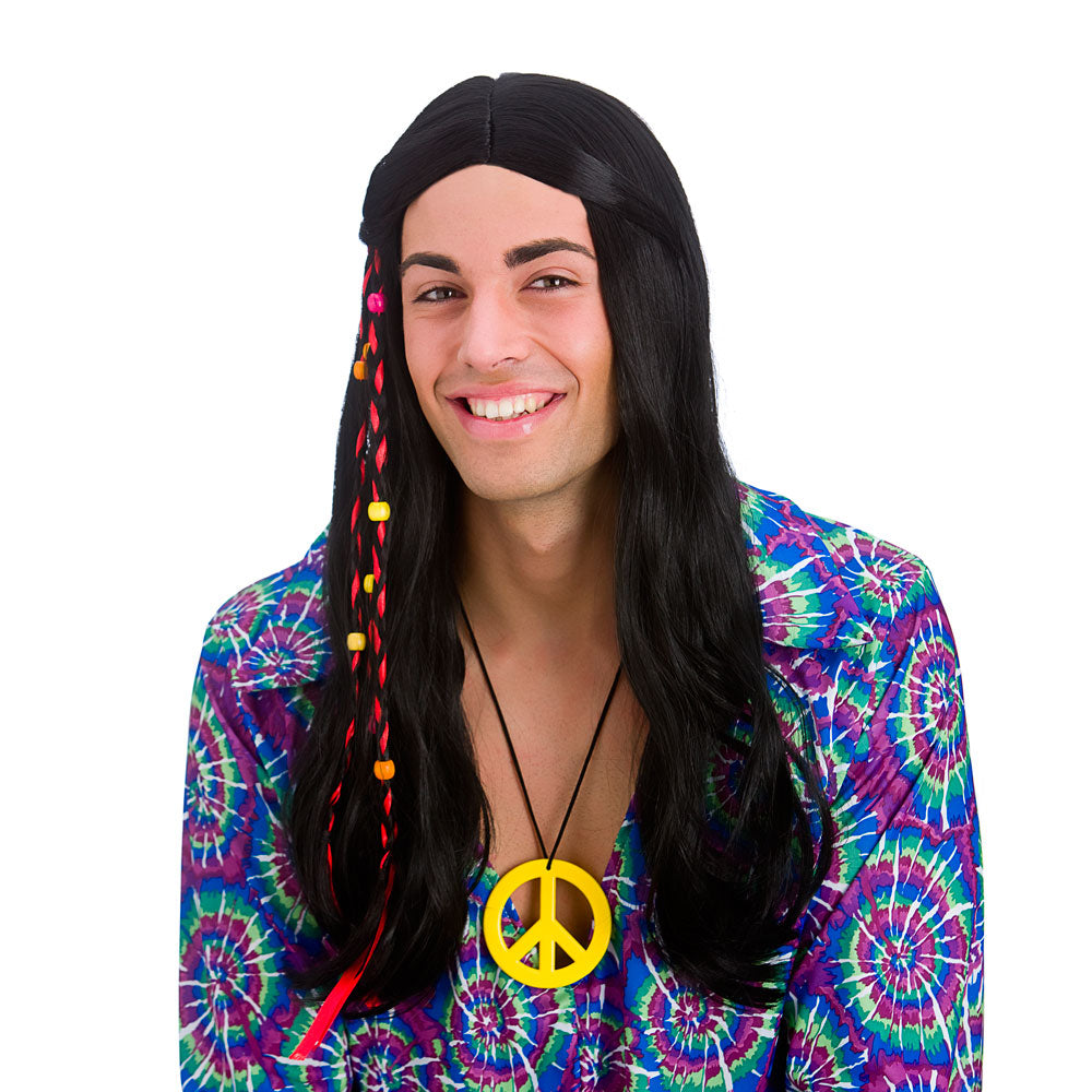 1960's Cool Hippie Black Wig