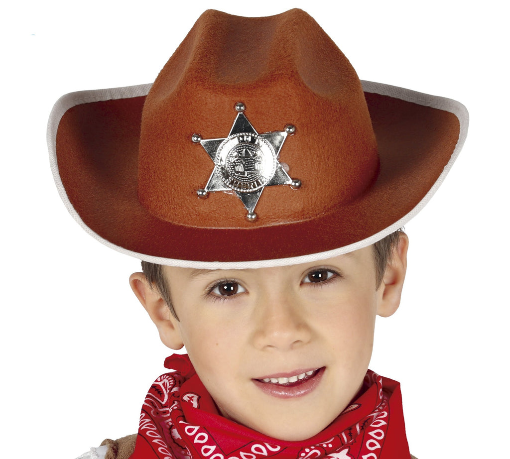 Our Kids Brown Cowboy Hat features a felt which features an attached silver sheriff badge. White brim to finish.