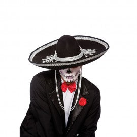 Black Mexican Sombrero with silver trim.