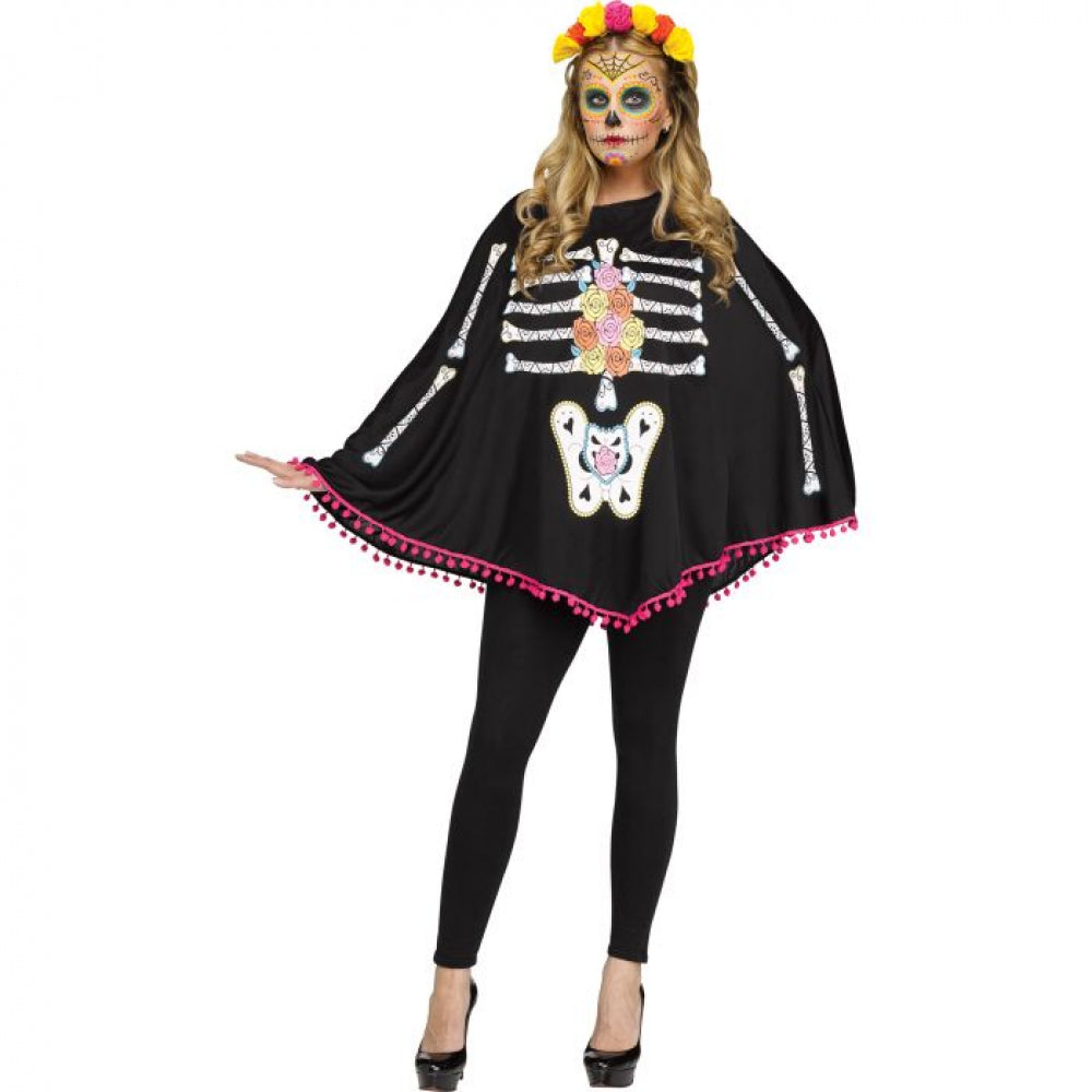 Day of the Dead Adult Poncho