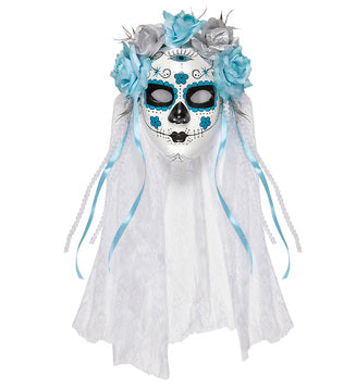 Day of the Dead Catrina Mask Azure and Silver Roses