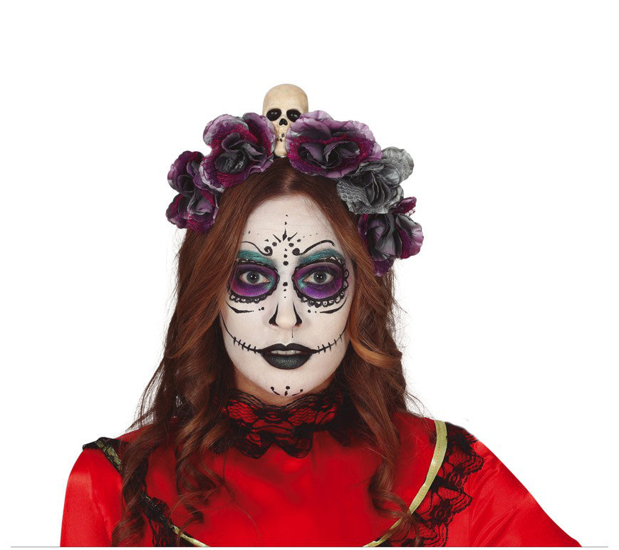 Day of the Dead Red and Gray Flowers Tiara
