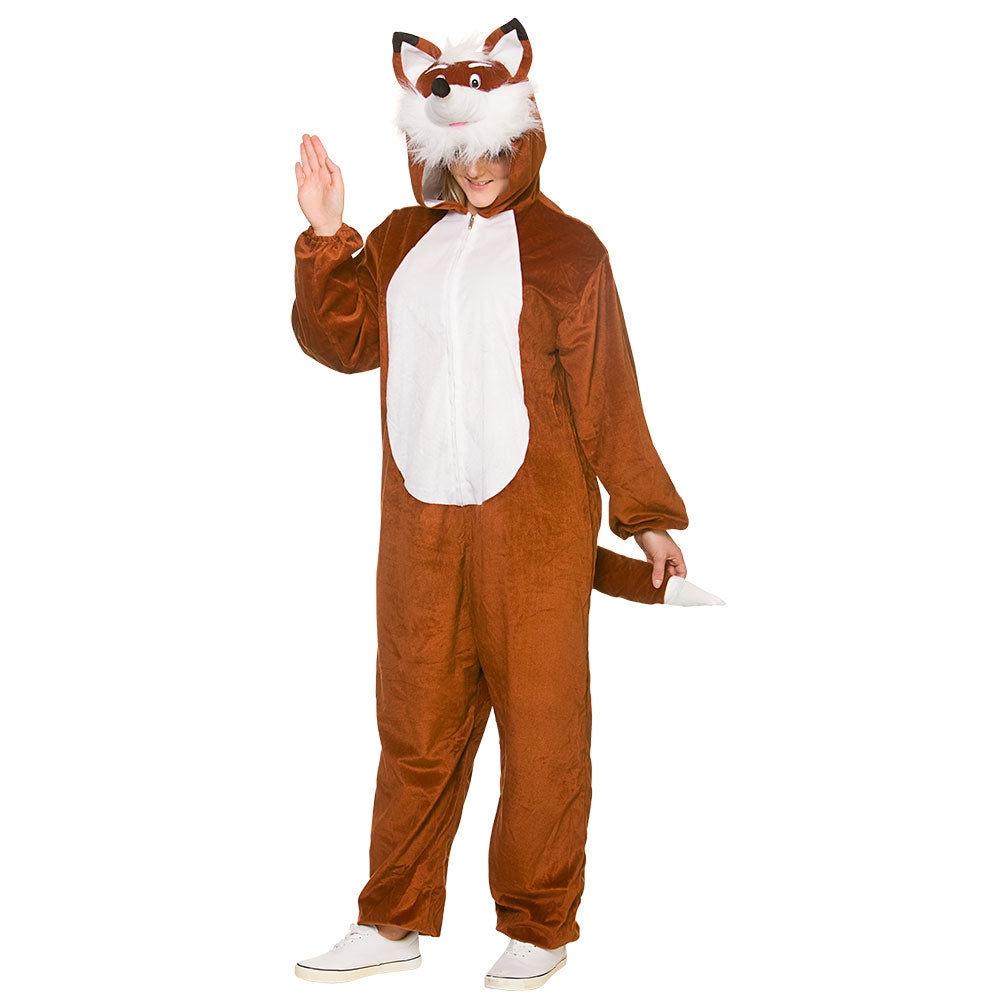 This deluxe fox costume is a rich brown colour and is made of the softest plush material - very cuddly! The zip-front jumpsuit has a white chest, a fox's tail at the back, and is open at the wrists and ankles, allowing a degree of flexibility with the fit.