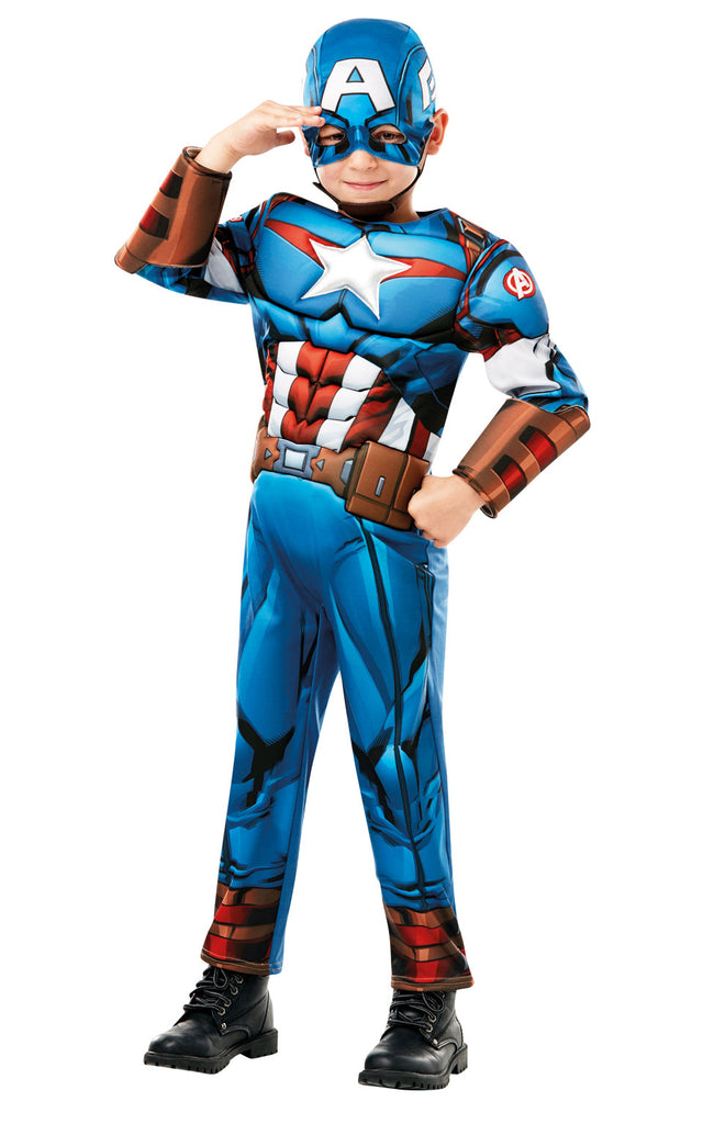 This kids Captain America outfit features fine quilted detail and a padded chest