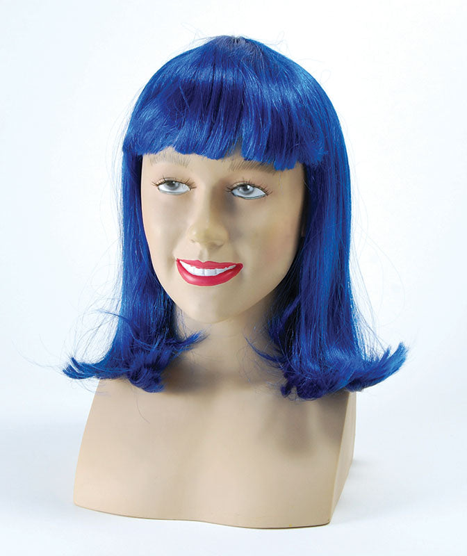 Deluxe Cheerleader Wig Blue