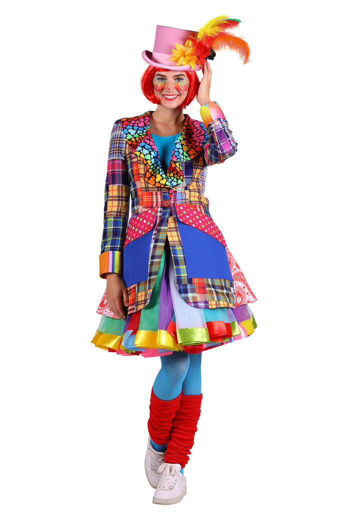 Deluxe Clown Carnival Jacket fancy dress for ladies.