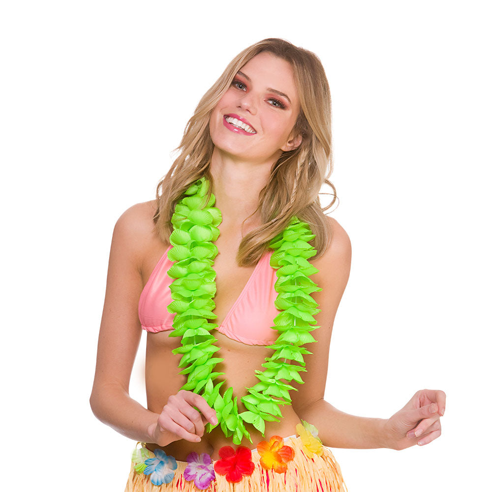 Deluxe Satin Lei Green for Hawaiian Party