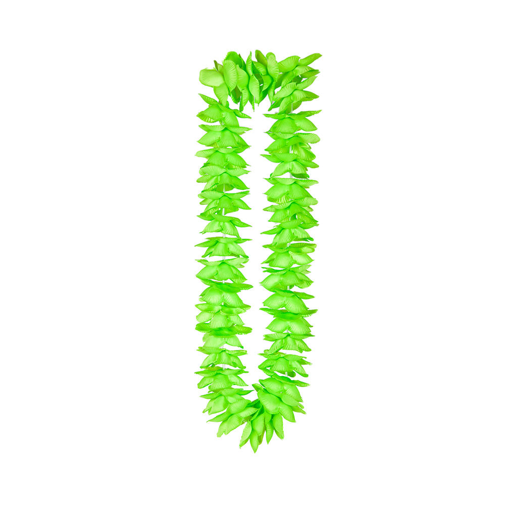 Hawaiian Party Leis Deluxe Satin Lei Green