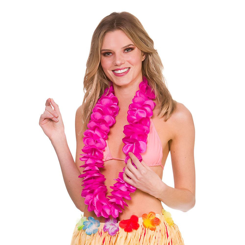 Deluxe Satin Lei Hot Pink