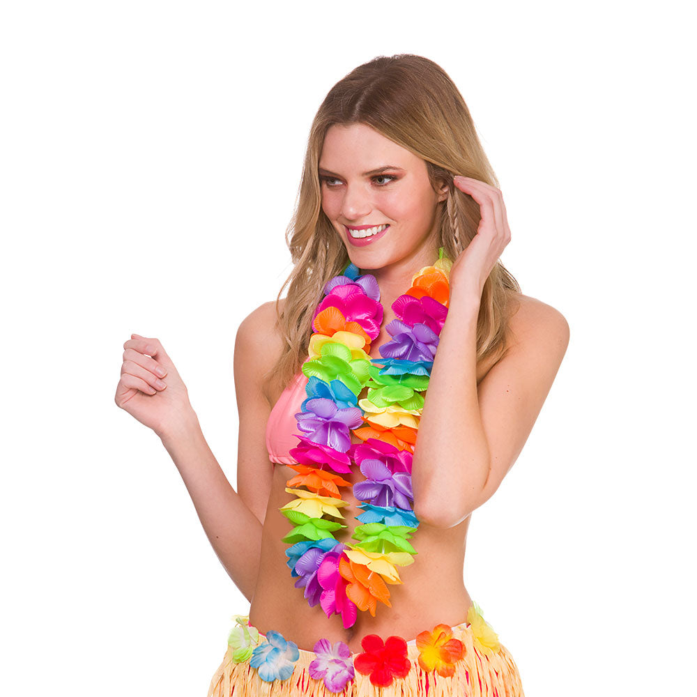 Deluxe Satin Lei Rainbow Coloured Hawaiian Leis