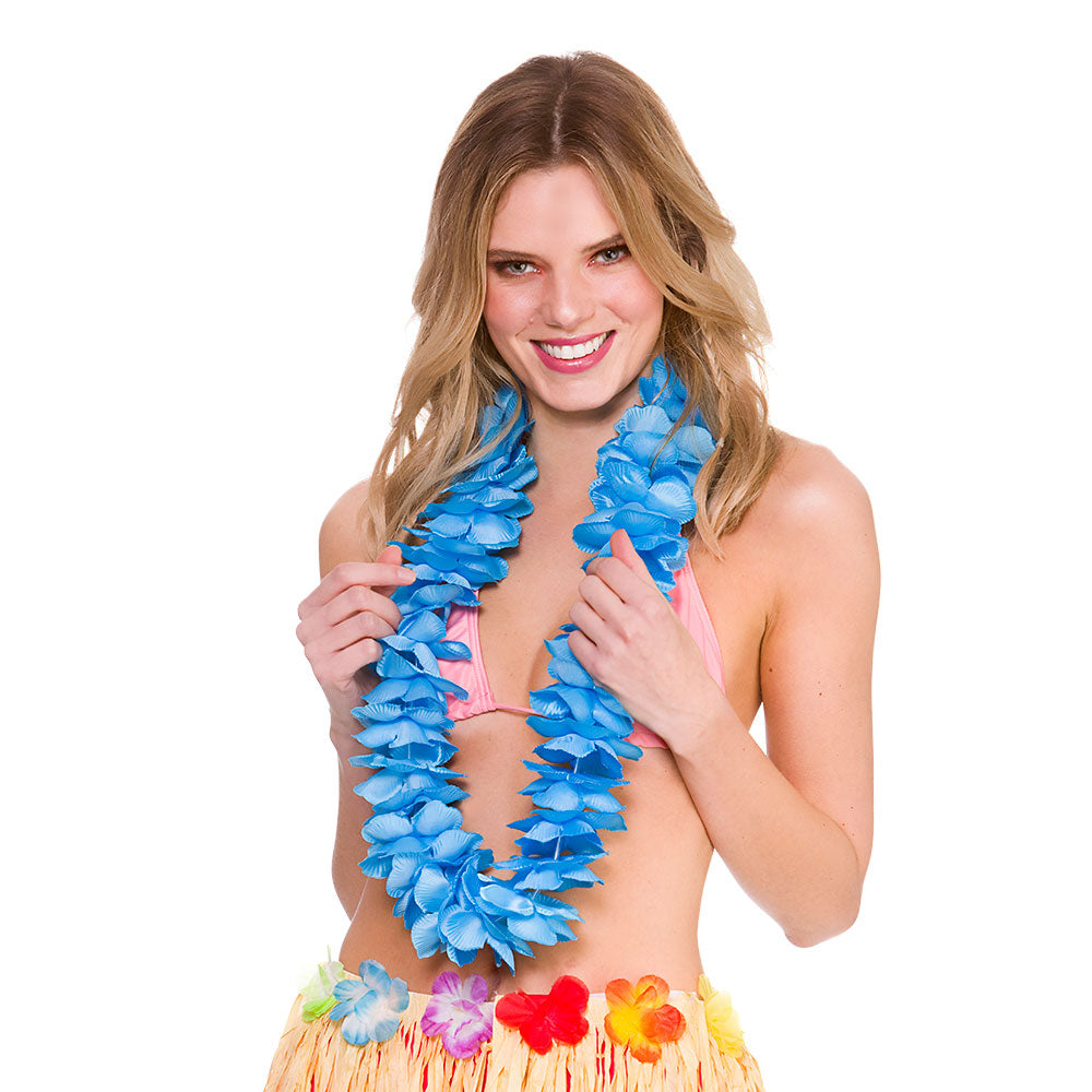 Deluxe Satin Lei blue Hawaiian Leis