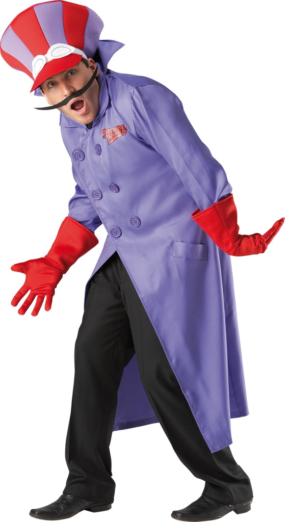 Our fun Wacky Races Dick Dastardly Costume includes a long purple coat with a double breasted front and a high upturned collar.