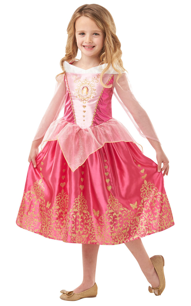 Gem Princess Sleeping Beauty Dress in Aurora's iconic bardot style. Lam and satin bodice with character gem motif. Satin skirt with organza shimmer peplum and sparkly glitter detail.