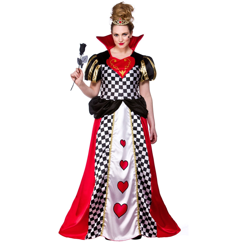 Adult Fairytale Queen of Hearts fancy dress Costume plus size.