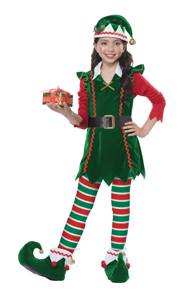 Festive Elf Girl Kids Christmas Costume