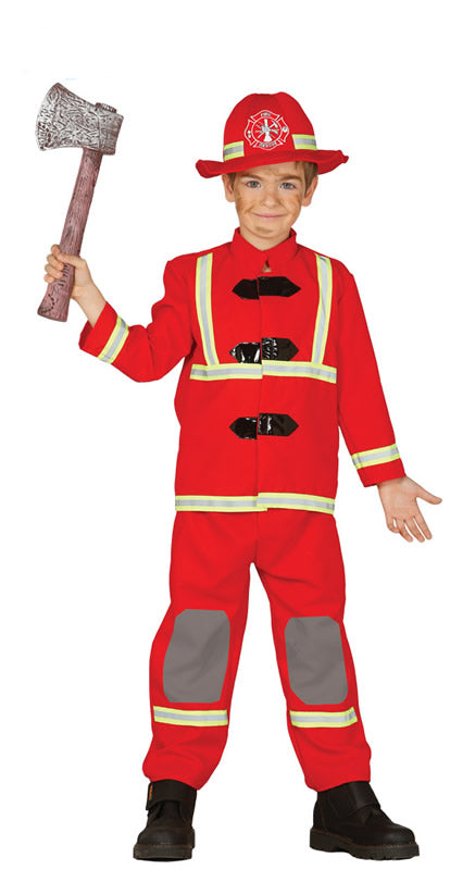 Children's red Fireman Costume for boys and girls.
