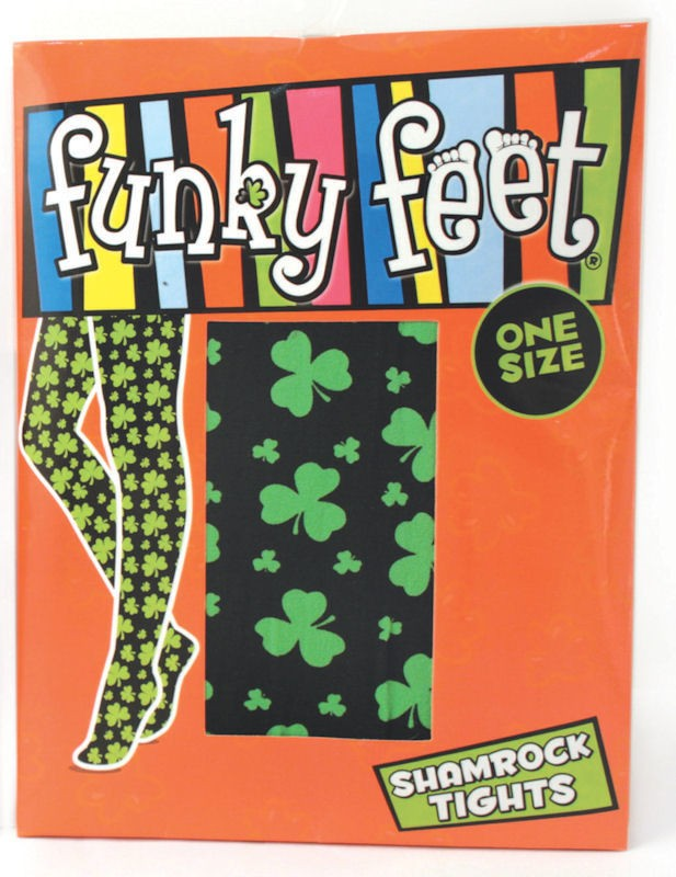 Funky Feet Shamrock Tights Black or White